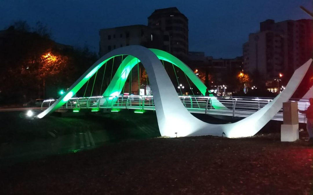 Completion of pedestrian bridge in Tirana, Albania